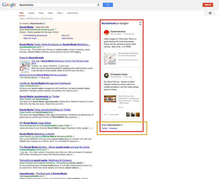 google search results for #hashtags