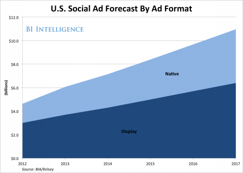 USA social ad forecast by ad format