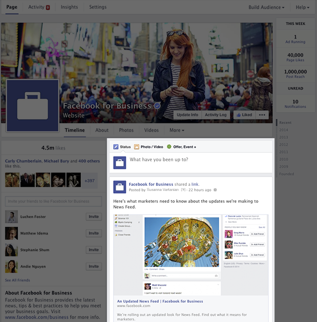 Right Side of New Look Facebook Business Pages