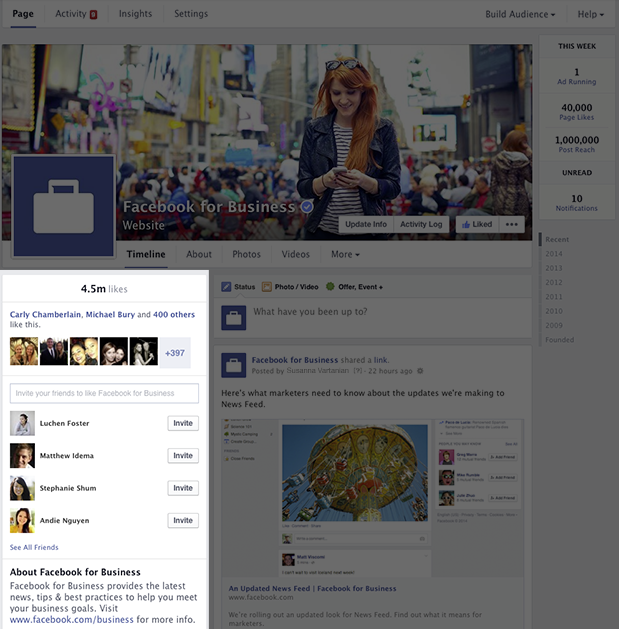 Left Side of Facebook Business Pages - New Look