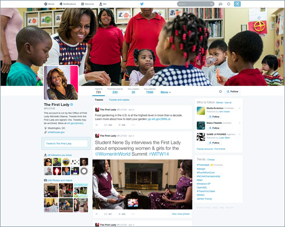 First Lady Michelle Obama New Twitter Redesign