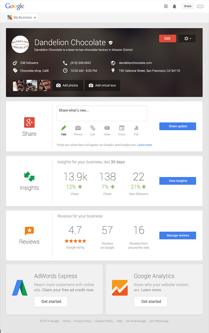 google my business graphic dashboard
