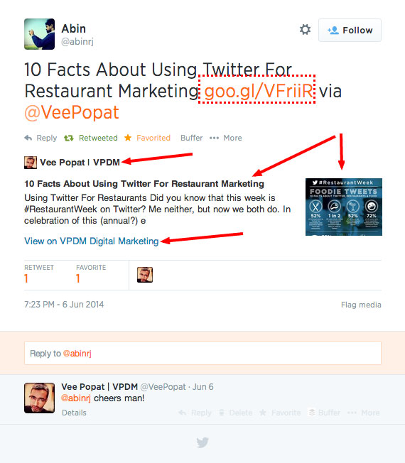 Example of Twitter Card Displayed Data