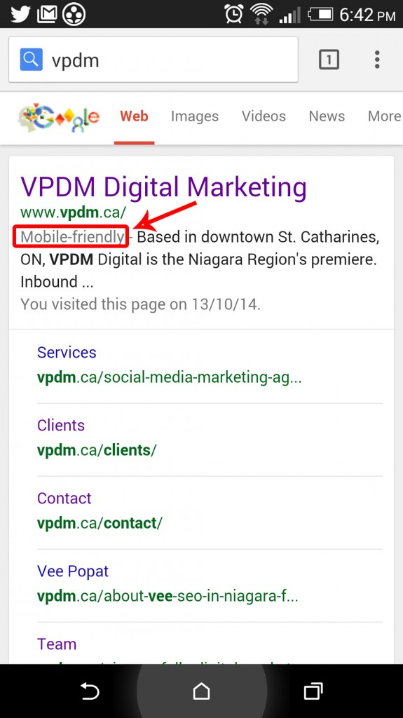 example of mobile-friendly website in Google search