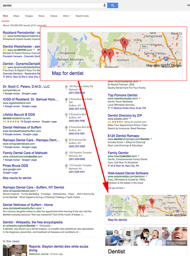 Google Local Map and Big 7 Seen Below The Fold