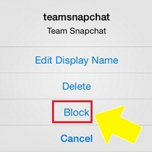 screenshot of dropdown block list for snapchat vpdm digital marketing st catharines