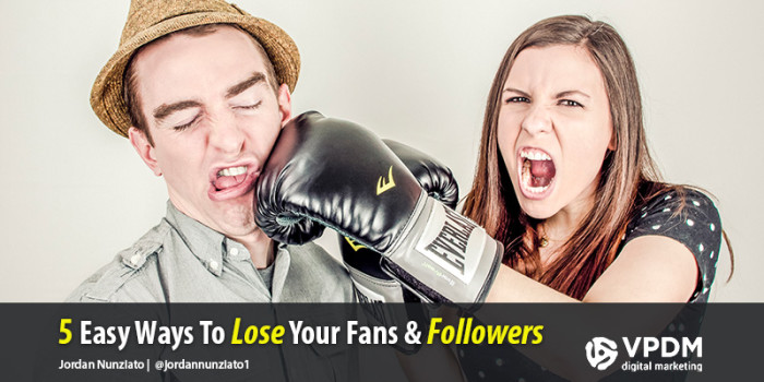 A woman is punching a man, angry about losing her social media followers