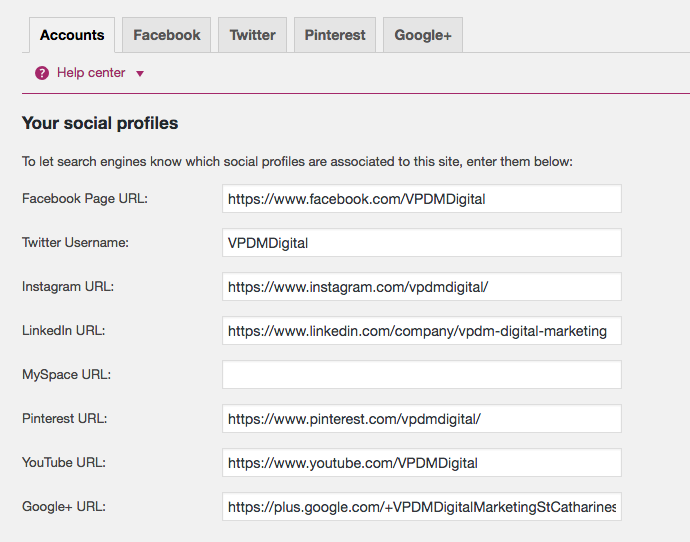 Social Media website integration with Yoast Plugin.
