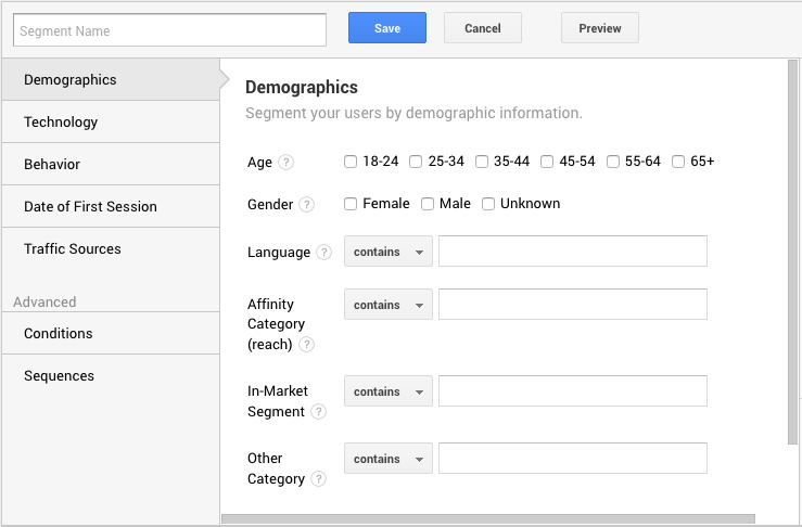Google Analytics page with demographics selection for creating a segment. A practical guide on how to use segments in Google Analytics.