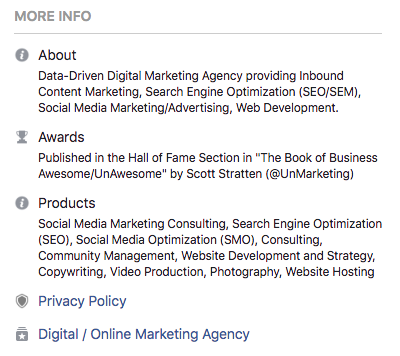 Screen shot of the About section on VPDM Digital Marketing's Facebook Business Page. How to optimize your Facebook Business Page for a winning social strategy by VPDM Digital Marketing in St. Catharines Ontario.