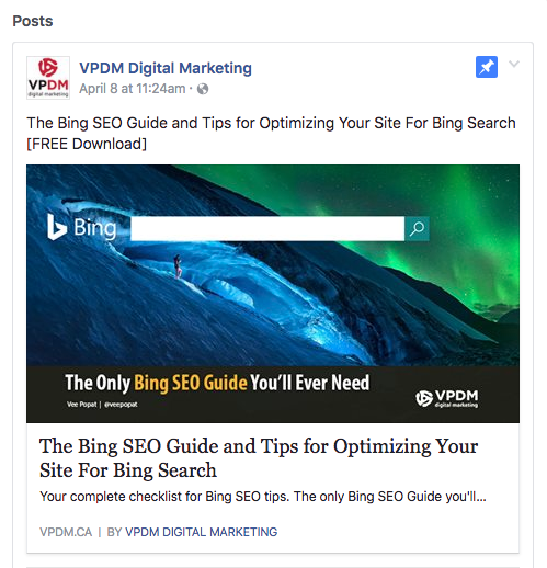 Image of pinned post on VPDM Digital Marketing's Facebook Business Page. Free Download of BING SEO guide. How to optimize your Facebook Business Page for a winning social strategy by VPDM Digital Marketing in St. Catharines Ontario.