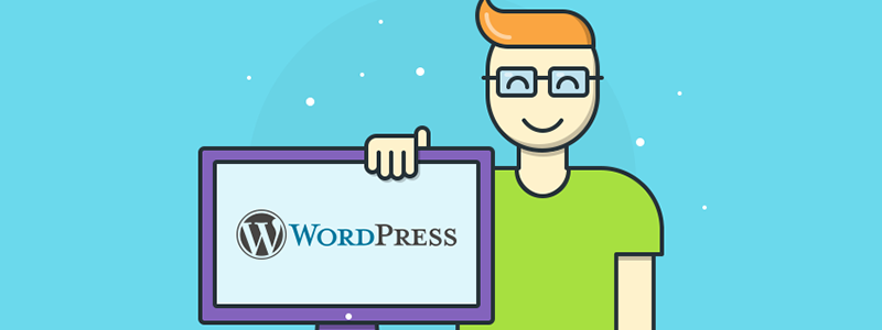Vector of man with computer using wordpress