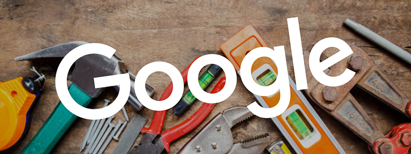 Google logo over pictures of tools