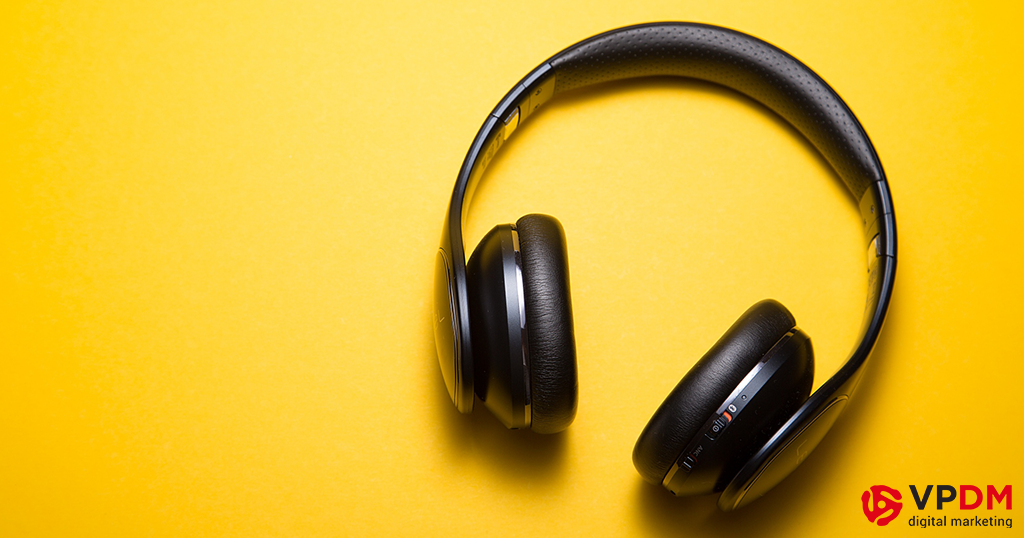 Headphones on yellow background