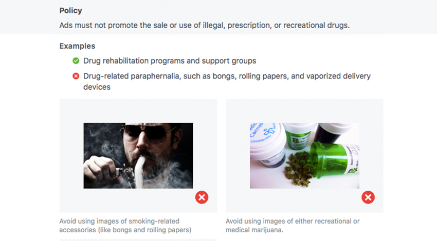 Facebook regulations for advertising medical cannabis