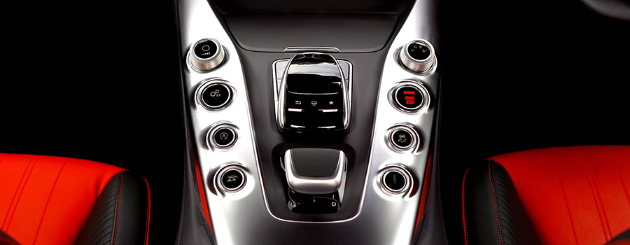 Black and red interior of Mercedes Benz. Car dealership marketing strategies. Marketing strategy for selling cars