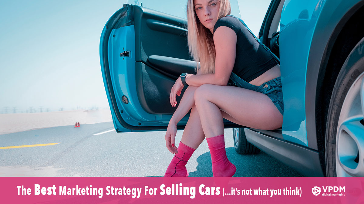Pretty girl sitting in car with door open. Social media marketing for car salesman. Automotive marketing ideas.