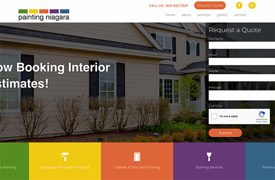 Painting niagara website home page. Website design and development Niagara, St. Catharines. SEO consultant in Hamilton, Niagara.