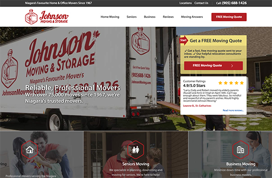 johnson moving company. niagara website design seo company.